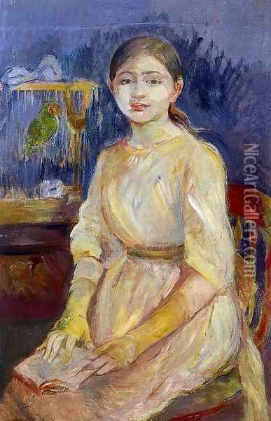 Julie Manet With A Budgie Oil Painting - Berthe Morisot