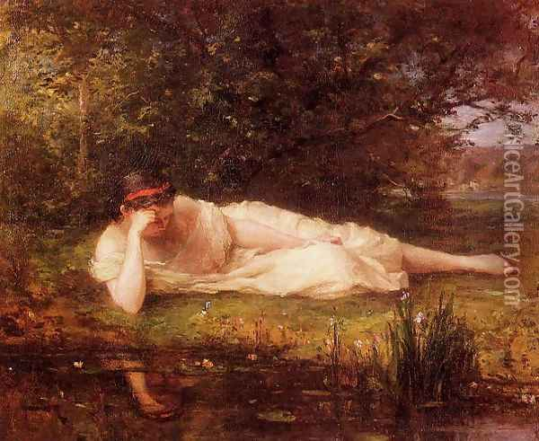 Study The Waters Edge Oil Painting - Berthe Morisot