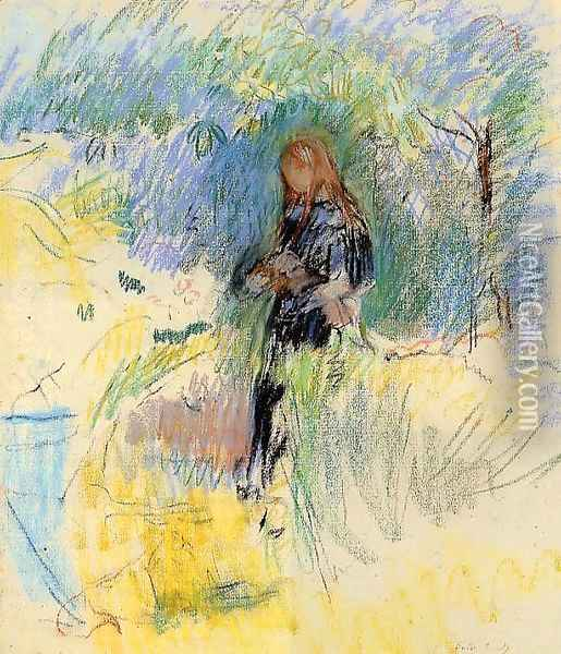 Young Woman Holding A Dog In Her Arms Oil Painting - Berthe Morisot