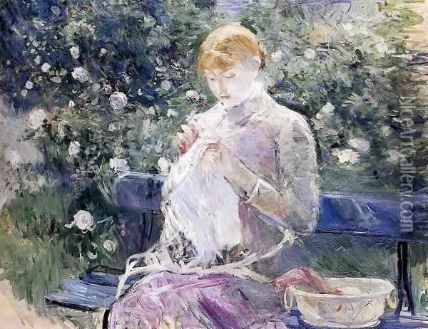 Pasie sewing in Bougival's Garden 1881 Oil Painting - Berthe Morisot