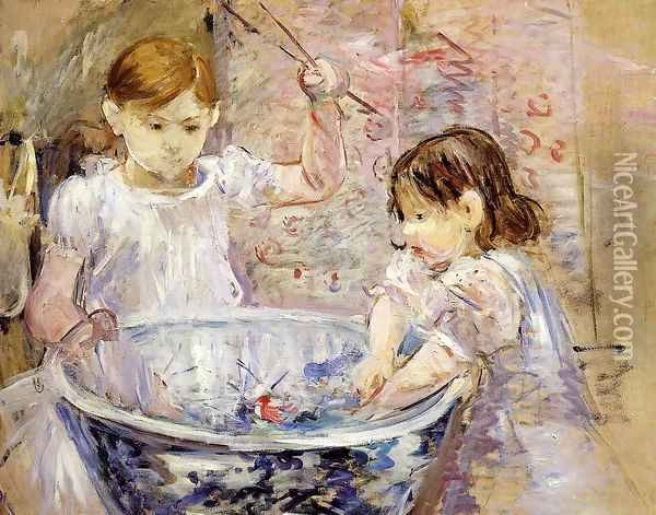 Children With A Bowl Oil Painting - Berthe Morisot