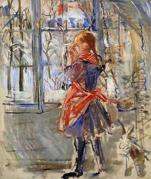 Child with a Red Apron Oil Painting - Berthe Morisot