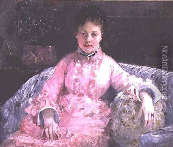 Portrait of a Woman in a pink dress Oil Painting - Berthe Morisot