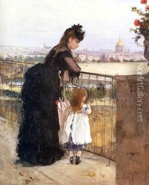 Woman And Child On A Balcony Oil Painting - Berthe Morisot