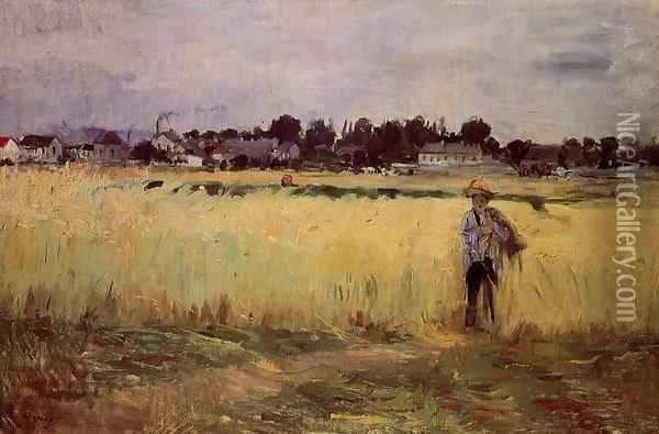 In The Wheat Fields At Gennevilliers Oil Painting - Berthe Morisot