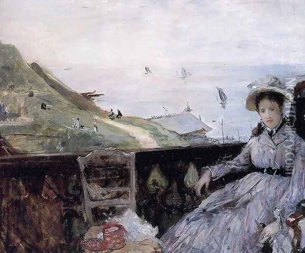 On The Terrace Oil Painting - Berthe Morisot