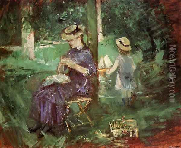 Woman and Child in a Garden 1884 Oil Painting - Berthe Morisot