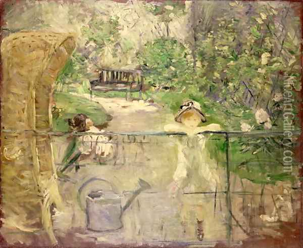 Little Girls in the Garden or, the Basket Chair 1885 Oil Painting - Berthe Morisot