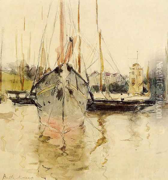 Boats Entry To The Medina In The Isle Of Wight Aka Pugad Baboy Oil Painting - Berthe Morisot