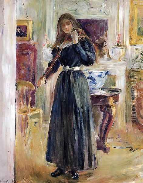 Julie Playing A Violin Oil Painting - Berthe Morisot