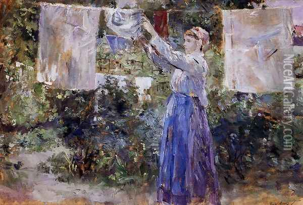 Woman Hanging Out The Wash Oil Painting - Berthe Morisot