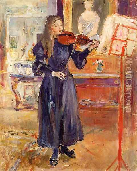 Studying The Violin Oil Painting - Berthe Morisot
