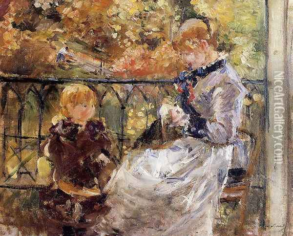 On The Balcony Of Eugene Manets Room At Bougival Oil Painting - Berthe Morisot