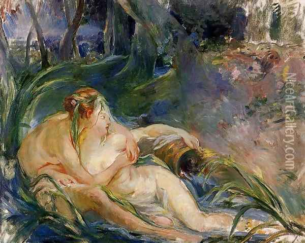 Two Nymphs Embracing Oil Painting - Berthe Morisot
