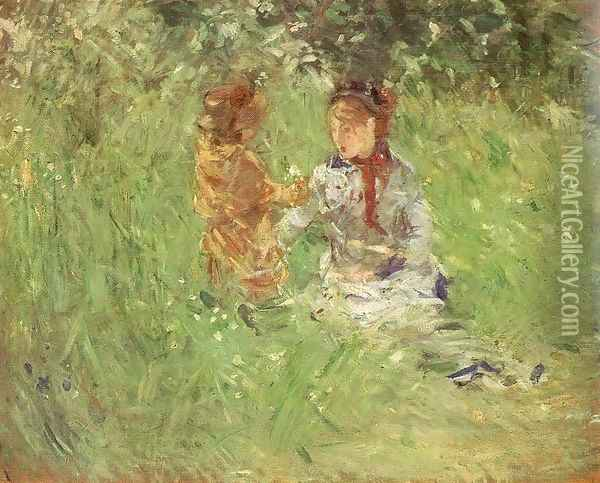 Woman and Child in the Garden at Bougival 1882 Oil Painting - Berthe Morisot