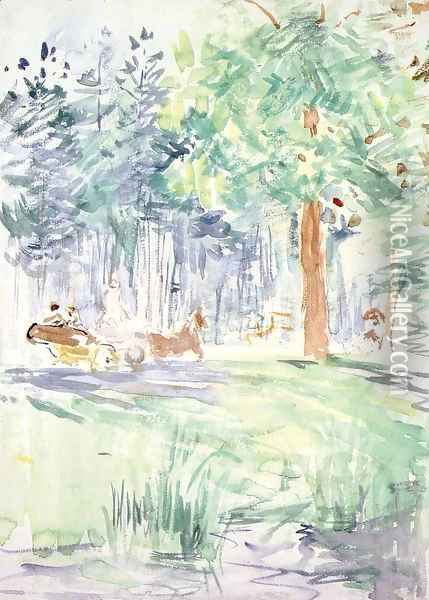 Carriage In The Bois De Boulogne Oil Painting - Berthe Morisot