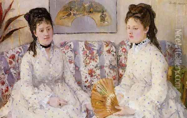Two Sisters On A Couch Oil Painting - Berthe Morisot