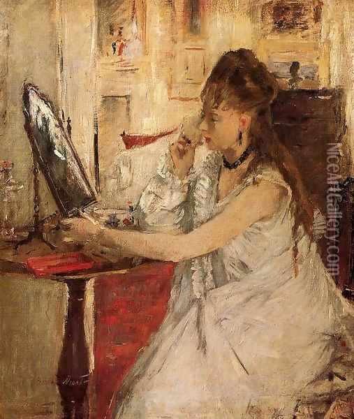 Young Woman Powdering Her Face Oil Painting - Berthe Morisot
