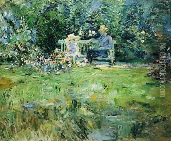 The Lesson In The Garden Oil Painting - Berthe Morisot