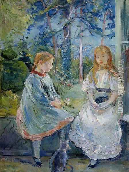 Little Girls At The Window (Jeanne And Edma Bodeau) Oil Painting - Berthe Morisot
