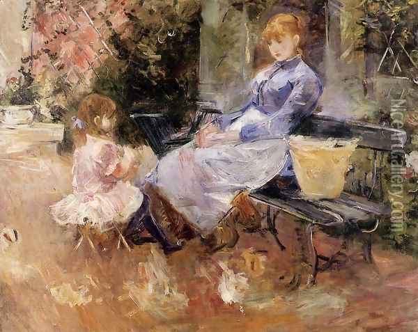The Fable Oil Painting - Berthe Morisot