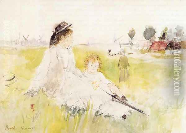Girl And Child On The Grass Oil Painting - Berthe Morisot