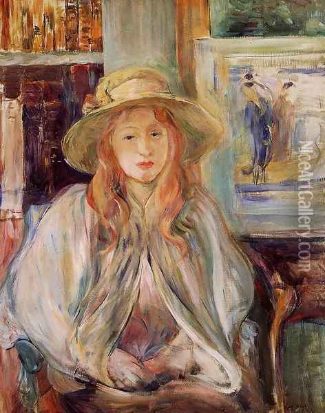 Girl In A Straw Hat Oil Painting - Berthe Morisot