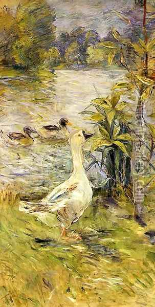 The Goose Oil Painting - Berthe Morisot