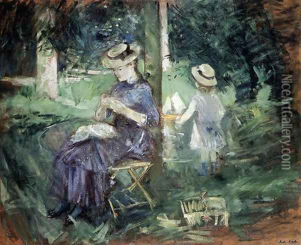 Girl Sewing In A Garden Oil Painting - Berthe Morisot