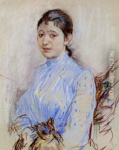 Young Woman In A Blue Blouse Oil Painting - Berthe Morisot
