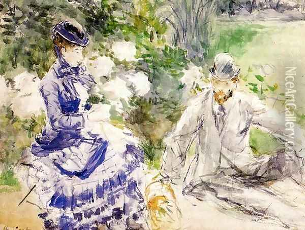 By The Water Oil Painting - Berthe Morisot