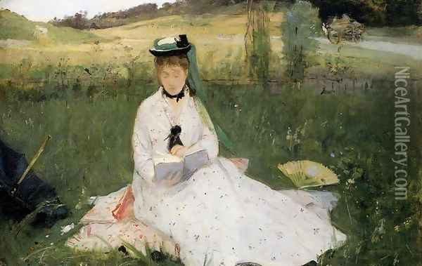Reading With Green Umbrella Oil Painting - Berthe Morisot