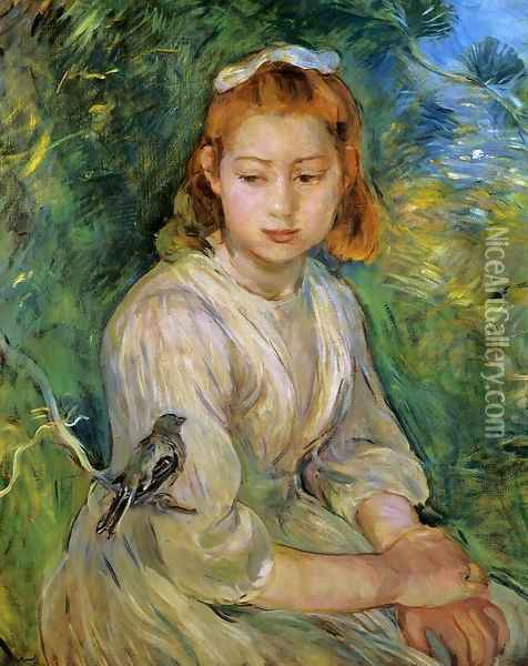 Young Girl With A Bird Oil Painting - Berthe Morisot