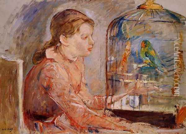Young Girl And The Budgie Oil Painting - Berthe Morisot