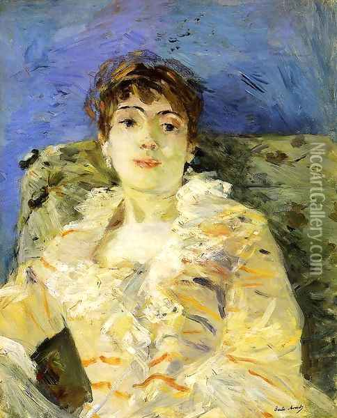 Young Woman On A Couch Oil Painting - Berthe Morisot
