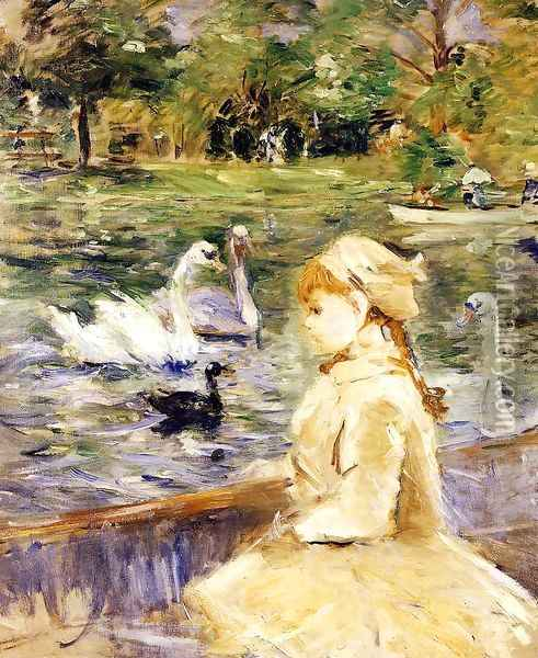 On The Lake Oil Painting - Berthe Morisot
