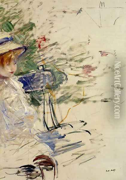 Little Girl In A Garden Oil Painting - Berthe Morisot