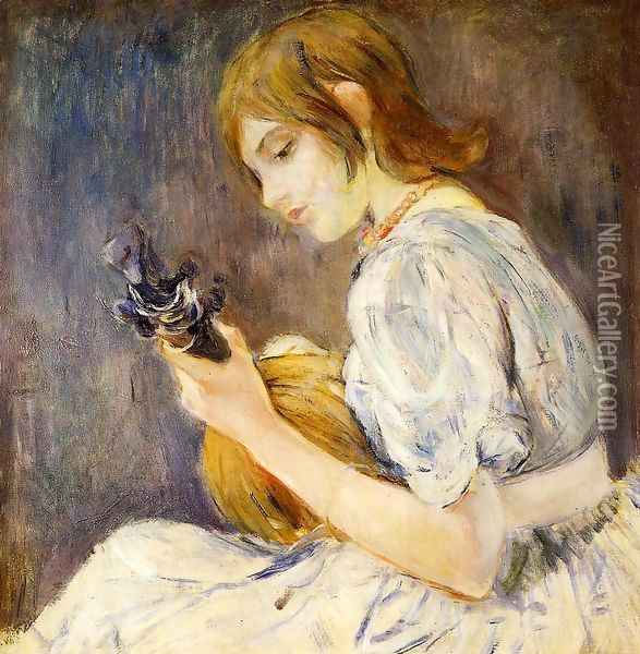 The Mandolin Oil Painting - Berthe Morisot