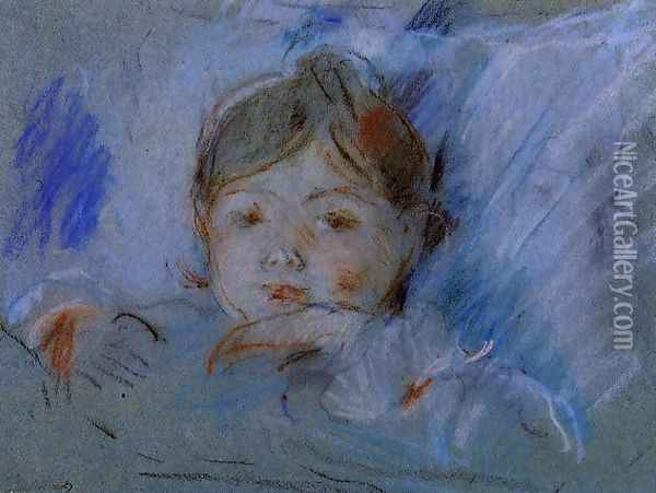 Child in Bed Oil Painting - Berthe Morisot