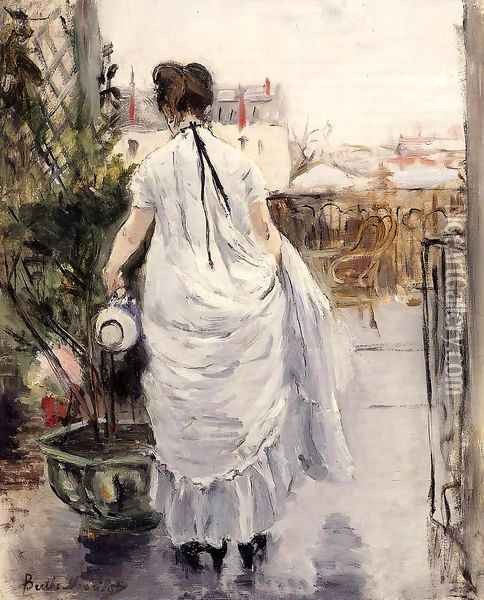 Young Woman Watering A Shrub Oil Painting - Berthe Morisot