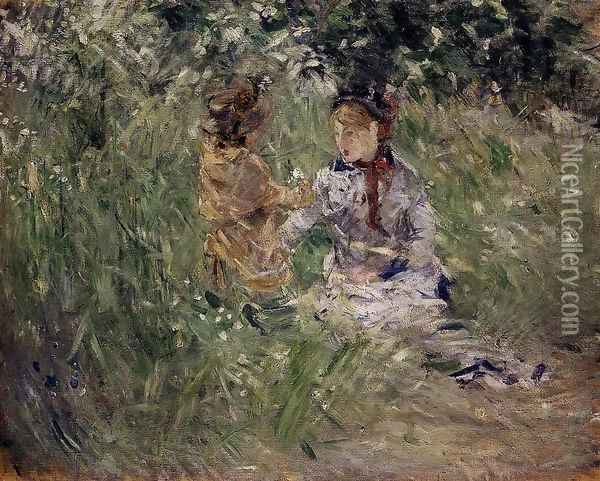 Julie With Pasie In The Garden At Bougival Oil Painting - Berthe Morisot