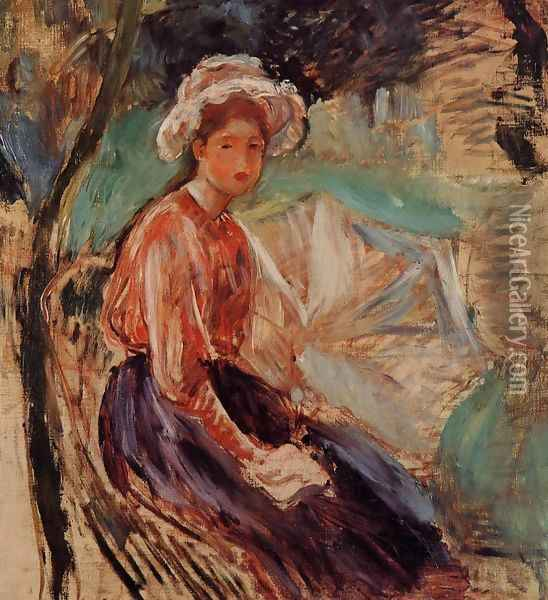 Young Girl With An Umbrella Oil Painting - Berthe Morisot