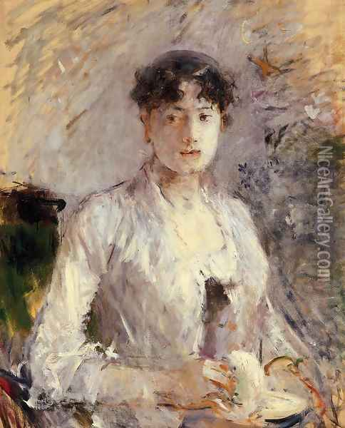 Young Woman In Mauve Oil Painting - Berthe Morisot