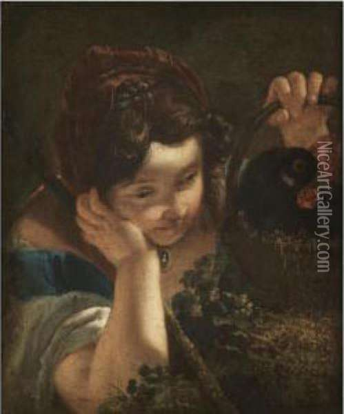 A Young Girl Holding A Cockerel In A Basket Oil Painting - Francesco Fontebasso