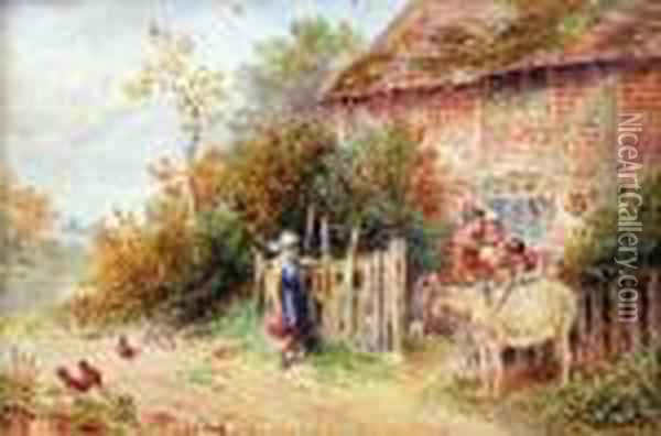 Family Group And Donkey Before Acottage Oil Painting - Myles Birket Foster