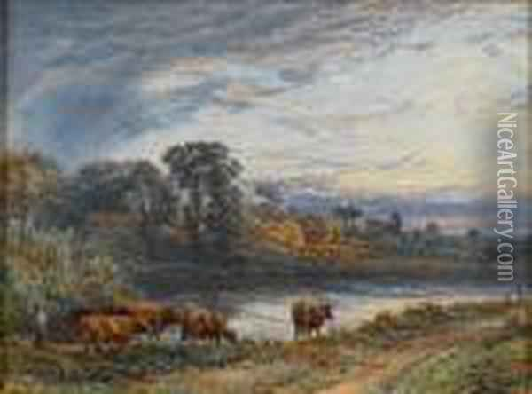 On The River Bank, Sunset Oil Painting - Myles Birket Foster