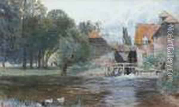 Figure By A Watermill, Ducks In The Foreground Oil Painting - Myles Birket Foster