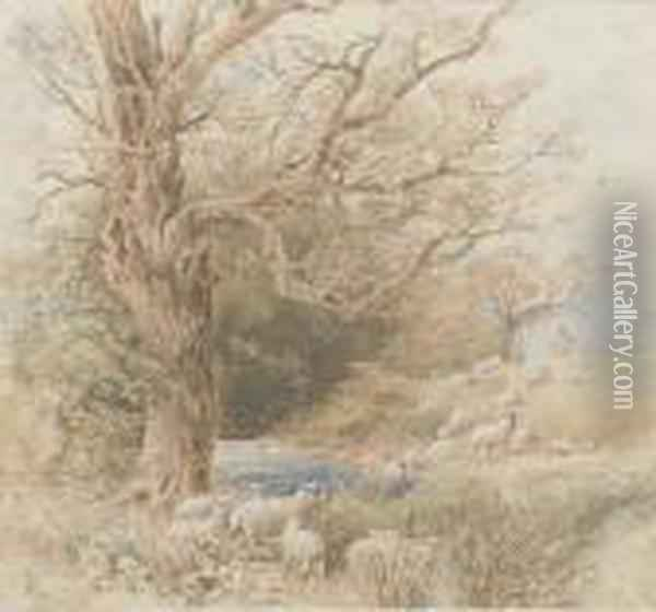 A Shepherd With His Flock Beside A Woodland Pond Oil Painting - Myles Birket Foster