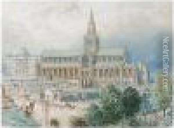 Glasgow Cathedral And The Royal Infirmary Oil Painting - Myles Birket Foster