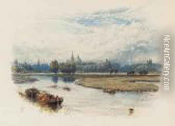A River Landscape With A Barge In The Foreground, A View Of Oxfordbeyond Oil Painting - Myles Birket Foster